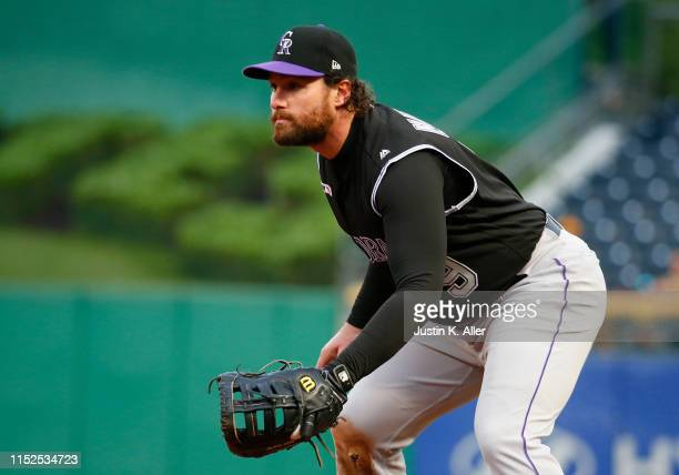 Daniel Murphy of the Colorado Rockies in action against the Pittsburgh Pirates at PNC Park on May 21, 2019 in Pittsburgh, Pennsylvania.