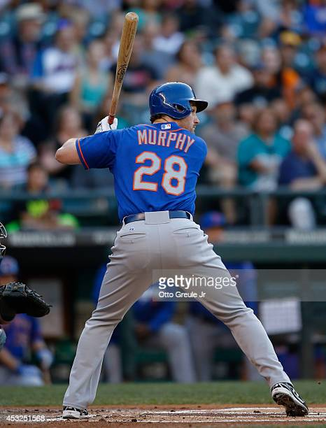 Daniel Murphy of the New York Mets bats against the Seattle Mariners at Safeco Field on July 21 2014 in Seattle Washington