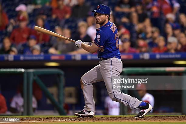 Daniel Murphy of the New York Mets hits a two run double in the 13th inning against the Philadelphia Phillies at Citizens Bank Park on August 27 2015...