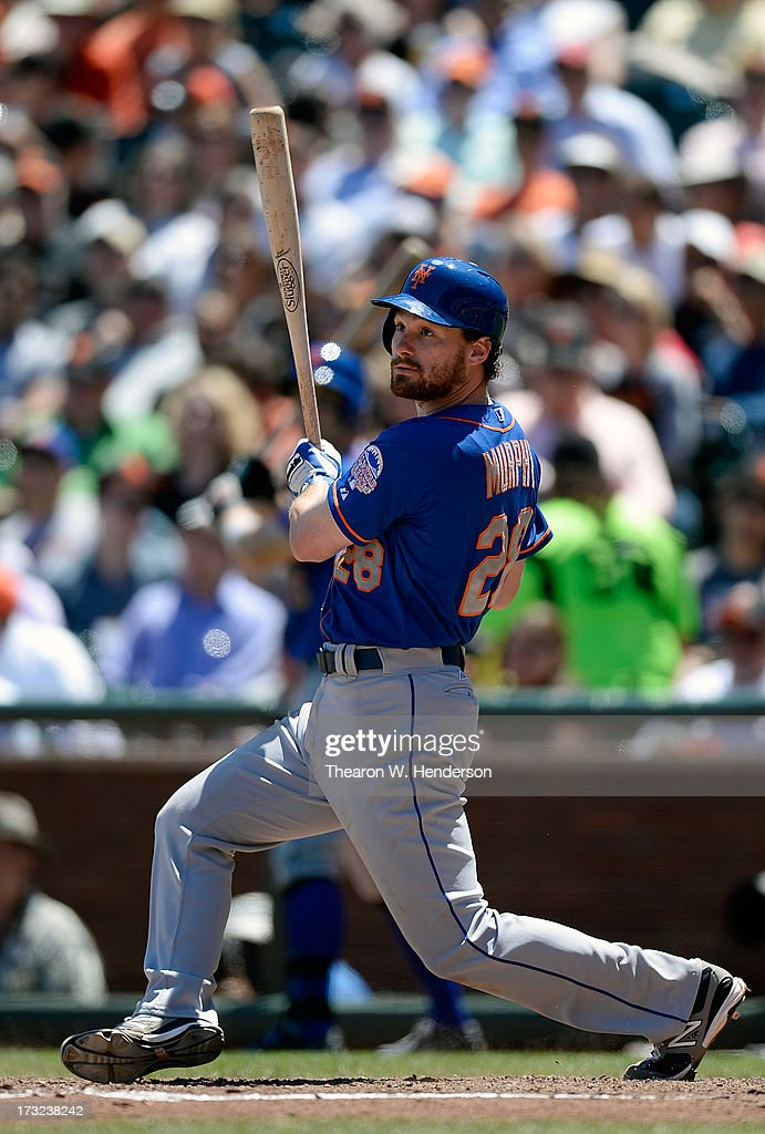 Daniel Murphy #28 of the New York Mets hits an RBI double scoring pitcher Zack Wheeler #45 in the six inning against the San Francisco Giants at AT&T Park on July 10, 2013 in San Francisco, California.