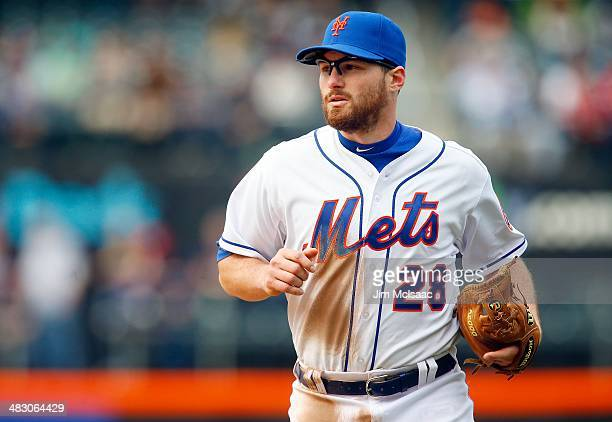 Daniel Murphy of the New York Mets in action against the Washington Nationals at Citi Field on April 3 2014 in the Flushing neighborhood of the...