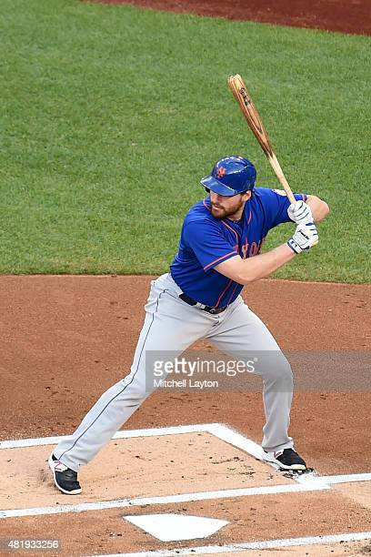 Daniel Murphy of the New York Mets prepares for a pitch during a baseball game against the Washington Nationals at Nationals Park on July 20 2015 in...