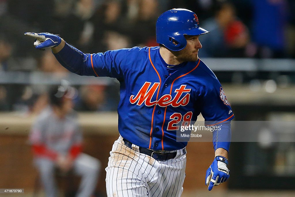 Daniel Murphy #28 of the New York Mets reacts after hitting a three run double in the eighth inning against the Washington Nationals at Citi Field on May 1, 2015 in the Flushing neighborhood of the Queens borough of New York City.