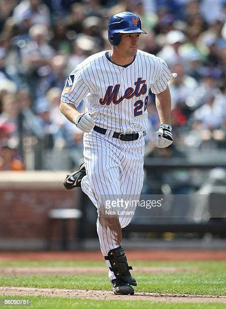 Daniel Murphy of the New York Mets runs the bases against the Milwaukee Brewers at Citi Field on April 19 2009 in the Flushing neighborhood of the...