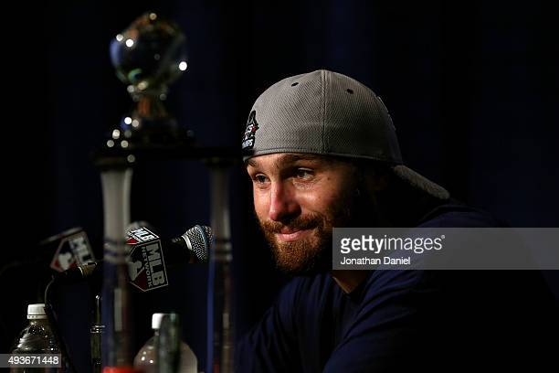 Daniel Murphy of the New York Mets speaks during a press conference after defeating the Chicago Cubs in game four of the 2015 MLB National League...