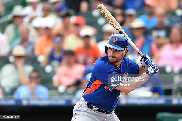 Daniel Murphy of the New York Mets waits for a pitch during a spring training game against the Miami Marlins at Roger Dean Stadium on March 11 2015...
