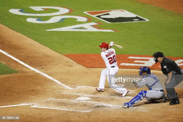 Daniel Murphy of the Washington Nationals and the National League swings at a pitch during the 88th MLB AllStar Game at Marlins Park on July 11 2017...