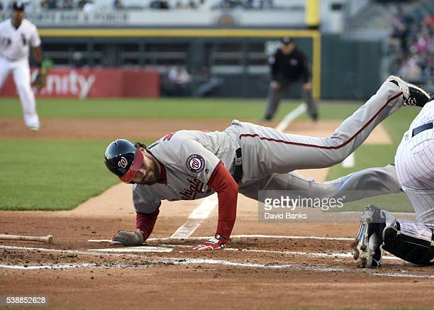 Daniel Murphy of the Washington Nationals gets out of the way of a pitch from James Shields of the Chicago White Sox during the first inning on June...