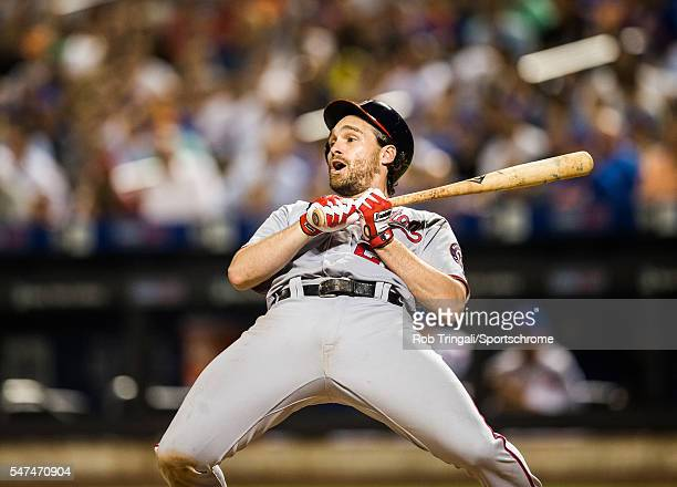 Daniel Murphy of the Washington Nationals gets out of the way of an inside pitch during the game against the New York Mets at Citi Field on July 7...