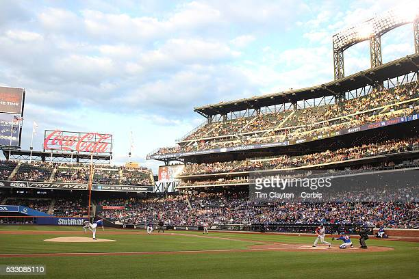 Daniel Murphy of the Washington Nationals hits a two run home run off Matt Harvey of the New York Mets in the first inning during the Washington...