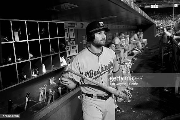 Daniel Murphy of the Washington Nationals in the dugout preparing to bat during the Washington Nationals Vs New York Mets regular season MLB game at...