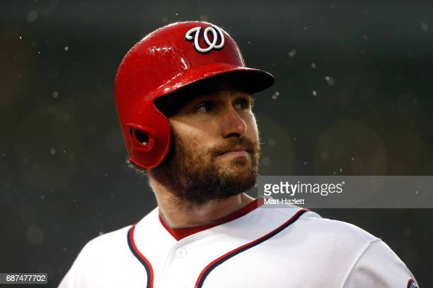Daniel Murphy of the Washington Nationals looks on after hitting a fly out for the first out of the second inning against the Seattle Mariners at...