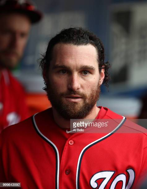 Daniel Murphy of the Washington Nationals looks on after hitting a two run single against the New York Mets in the seventh inning during their game...