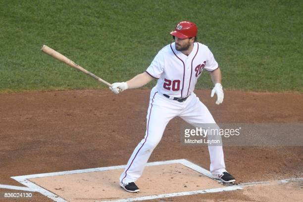 Daniel Murphy of the Washington Nationals of Anaheim prepares for a pitch during a baseball game against the Los Angeles Angels at Nationals Park on...
