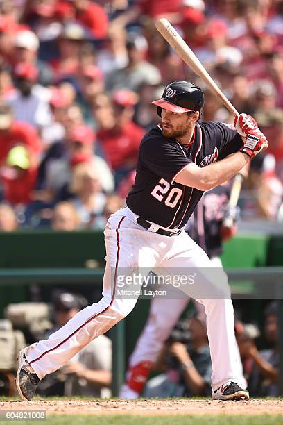 Daniel Murphy of the Washington Nationals prepares for a pitch during a baseball game against the Philadelphia Phillies at Nationals Park on...