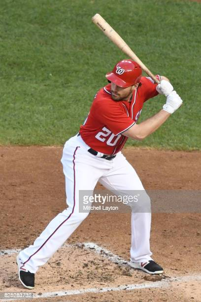 Daniel Murphy of the Washington Nationals prepares for a pitch during a baseball game against the Colorado Rockies at Nationals Park on July 29 2017...