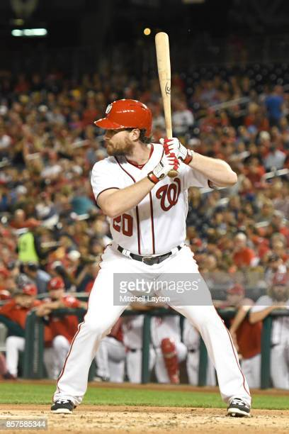Daniel Murphy of the Washington Nationals prepares for a pitch during a baseball game against the Washington Nationals at Nationals Park on September...