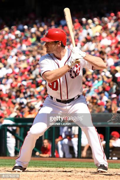 Daniel Murphy of the Washington Nationals prepares for pitch during a baseball game against the Atlanta Braves at Nationals Park on July 9 2017 in...