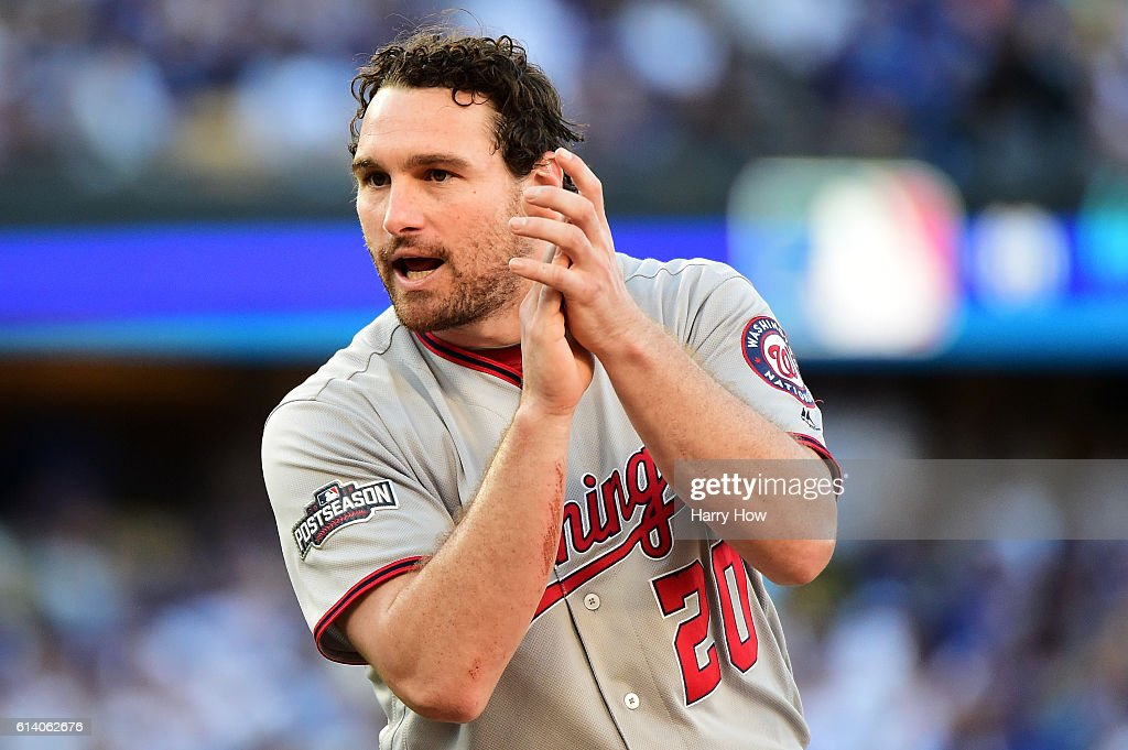 Daniel Murphy #20 of the Washington Nationals reacts in the seventh inning against the Los Angeles Dodgers during game four of the National League Division Series at Dodger Stadium on October 11, 2016 in Los Angeles, California.