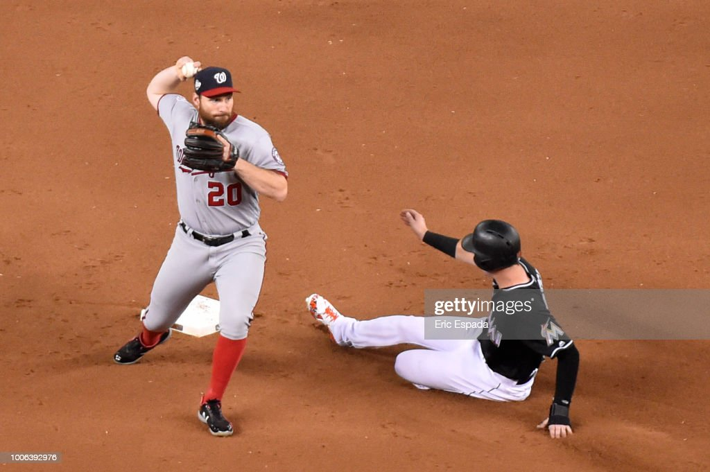 Daniel Murphy #20 of the Washington Nationals throws towards first base on a double play during the fourth inning against the Miami Marlins at Marlins Park on July 27, 2018 in Miami, Florida.