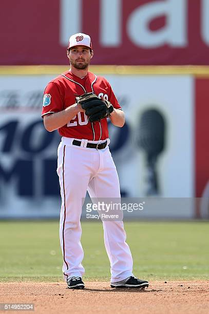 Daniel Murphy of the Washington Nationals waits for a pitch during a spring training game against the New York Mets at Space Coast Stadium on March...