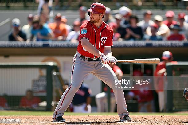 Daniel Murphy of the Washington Nationals waits for a pitch during a spring training game against the Houston Astros at Osceola County Stadium on...