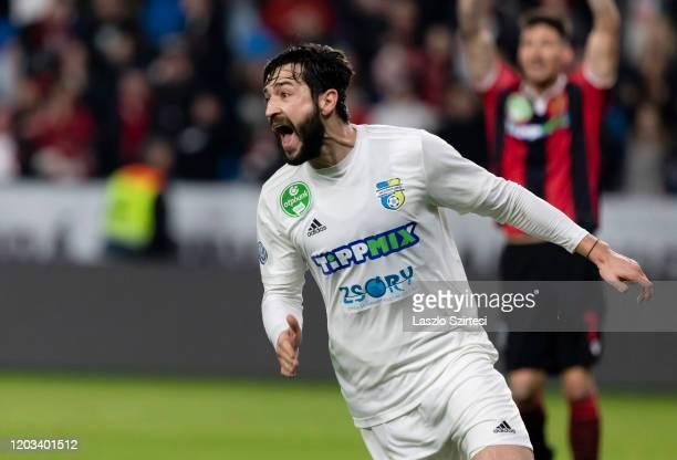Daniel Nagy of Mezokovesd Zsory FC celebrates his goal during the Hungarian OTP Bank Liga match between Budapest Honved and Mezokovesd Zsory FC at...