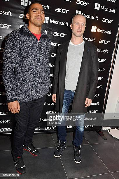 Daniel Narcisse and Thierry Omeyer attend the Acer Pop Up Store Launch Party at Les Halles on November 20 2014 in Paris France