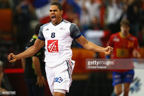 Daniel Narcisse of France celebrates a goal during the semi final match between Spain and France at Lusail Multipurpose Hall during the Men's...