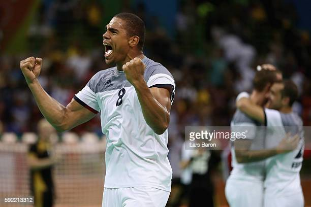 Daniel Narcisse of France celebrates the victory in the Men's Handball Semifinal match between France and Germany on Day 14 of the Rio 2016 Olympic...