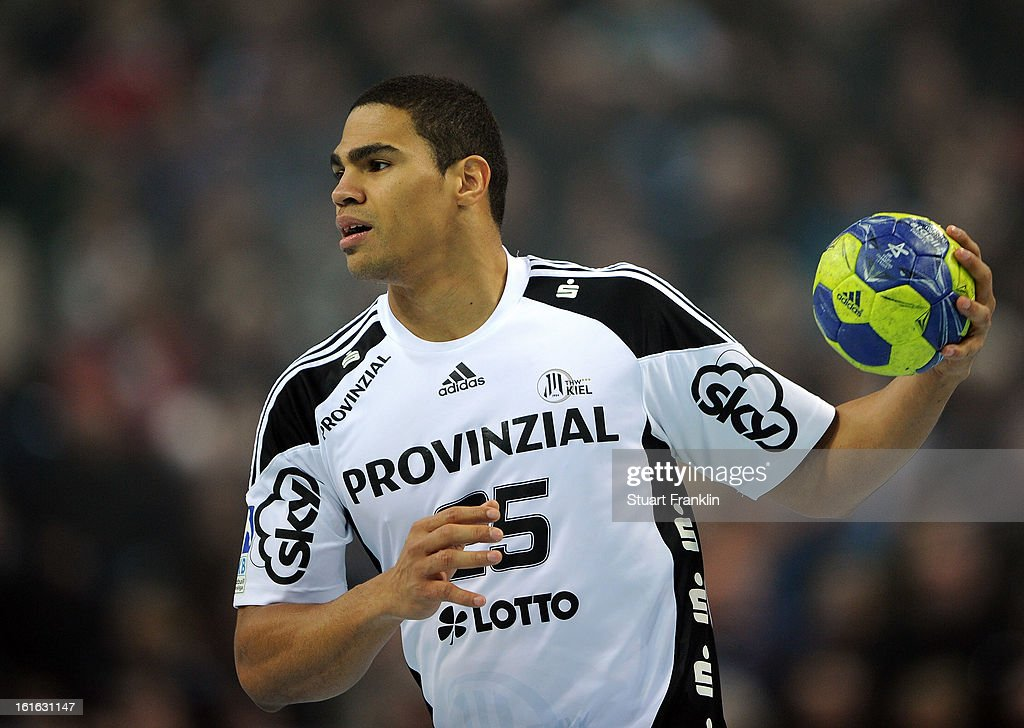 Daniel Narcisse of Kiel in action during the HBL Bundesliga game between THW Kiel and TSV Hannover-Burgdorf at the Sparkassen arena on February 13, 2013 in Kiel, Germany.