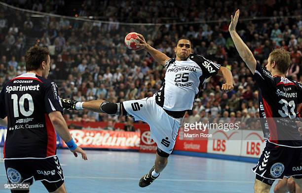 Daniel Narcisse of Kiel throws at goal during the Toyota Handball Bundesliga match between THW Kiel and SG FlensburgHandewitt at the Sparkassen Arena...