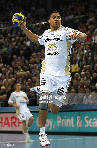 Daniel Narcisse of Kiel throws the ball during the EHF Champions League second leg match between THW Kiel and Orlen Wisla Plock at Sparkassen Arena...