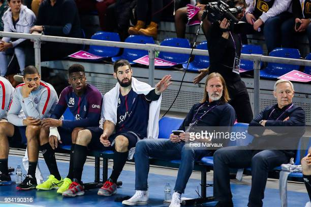 Daniel Narcisse of Paris Saint Germain and Dylan Nahi of Paris Saint Germain and Nikola Karabatic of Paris Saint Germain and Head coach Staffan...