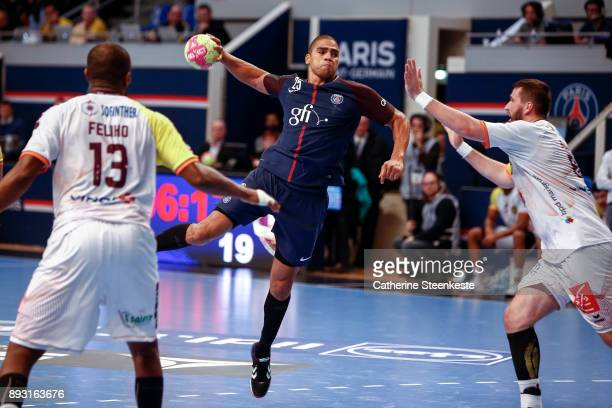 Daniel Narcisse of Paris Saint Germain is shooting the ball against Senjamin Buric of HBC Nantes during the Coupe de la Ligue Quarter Final match...