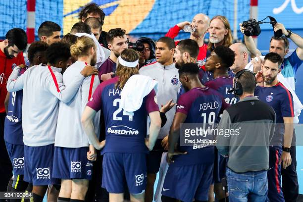 Daniel Narcisse of Paris Saint Germain with team mates during the League Cup semi final match between Paris Saint Germain PSG and Dunkerque on March...
