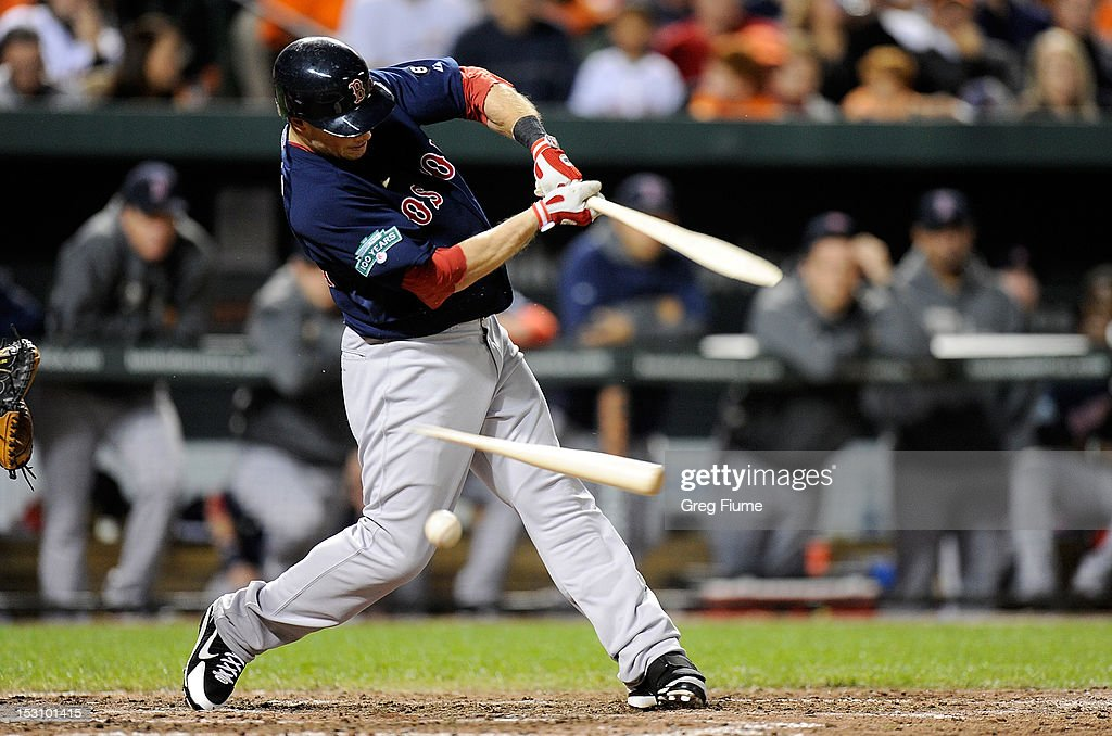 Daniel Nava #66 of the Boston Red Sox breaks his bat against the Baltimore Orioles at Oriole Park at Camden Yards on September 29, 2012 in Baltimore, Maryland.