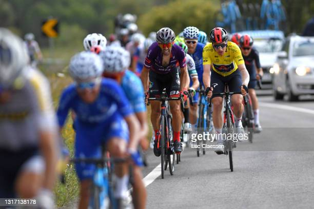 Daniel Navarro Garcia of Spain and Team Burgos - BH & Ethan Hayter of United Kingdom and Team INEOS Grenadiers yellow leader jersey during the 47th...