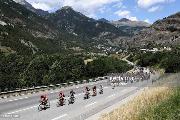 Daniel Navarro Garcia of Spain riding for Confidis Solutions Credits leads the field on stage eighteen of the 2017 Tour de France a 1795km stage from...