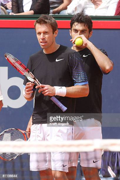 Daniel Nestor of Canada and Nenad Zimonjic of Serbia react during the final double match against Bob and Mike Bryan of USA during day seven of the...