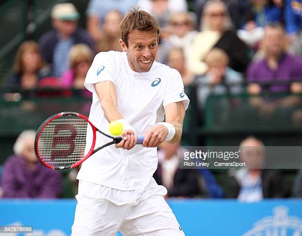 Daniel Nestor of Canada in action during his Mens Doubles Final match with Dominic Inglot of Great Britain against Ivan Dodig of Croatia and Marcelo...