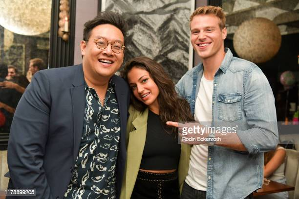 Daniel Nguyen Inanna Sarkis and Matthew Noska pose for portrait at Daniel Nguyen's Birthday Party at Pacifique on October 03 2019 in West Hollywood...