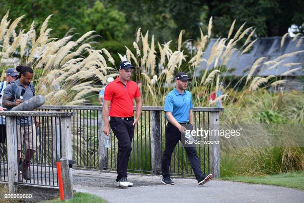 Daniel Nisbet of Australia and Jarin Todd of the United States walk to the 18th green during day four of the ISPS Handa New Zealand Golf Open at...