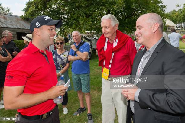 Daniel Nisbet of Australia chats with Sir Bob Charles and NZ Golf CEO Dean Murphy after winning the Brodie Breeze Challenge Cup during day four of...