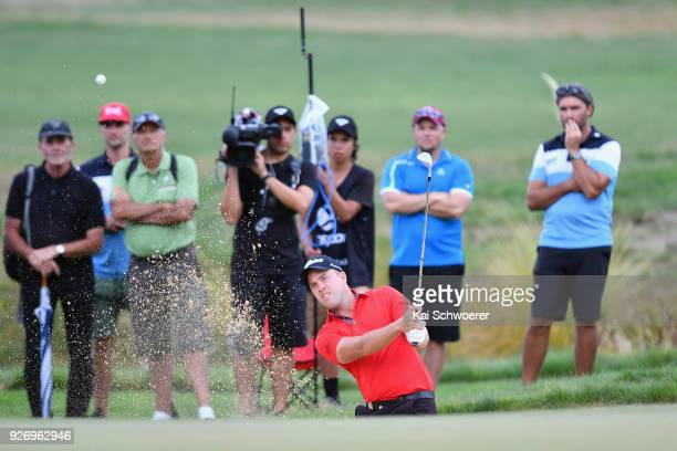 Daniel Nisbet of Australia plays a bunker shot during day four of the ISPS Handa New Zealand Golf Open at Millbrook Golf Resort on March 4 2018 in...