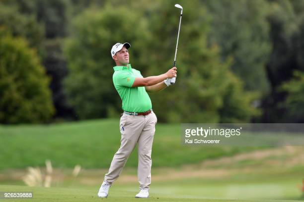 Daniel Nisbet of Australia plays a shot during day three of the ISPS Handa New Zealand Golf Open at Millbrook Golf Resort on March 3 2018 in...