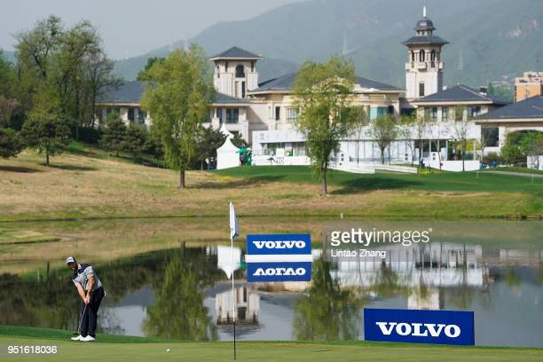 Daniel Nisbet of Australia plays a shot during the day two of the 2018 Volvo China Open at Topwin Golf and Country Club on April 27 2018 in Beijing...