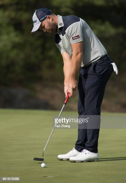 Daniel Nisbet of Australia plays a shot during the second round of the 2018 Volvo China open at Beijing Huairou Topwin Golf and Country Club on April...