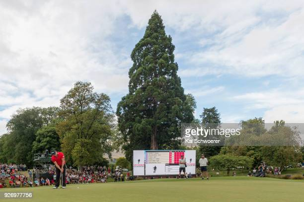 Daniel Nisbet of Australia putts on the 18th hole during day four of the ISPS Handa New Zealand Golf Open at Millbrook Golf Resort on March 4 2018 in...
