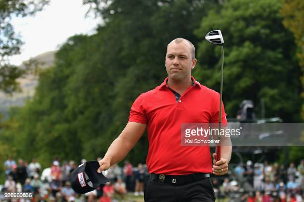 Daniel Nisbet of Australia reacts after winning the Brodie Breeze Challenge Cup during day four of the ISPS Handa New Zealand Golf Open at Millbrook...